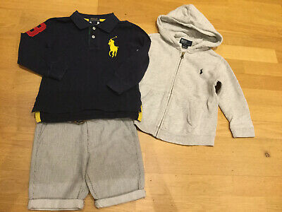 Boys Clothes Bundle Outfit Age 3-4 Polo Ralph Lauren Chino Shorts Tshirt Hoody