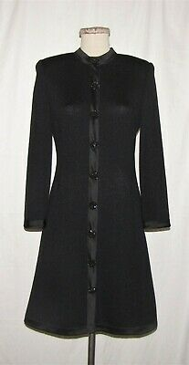 St John Evening Blk Santana Knit w/Satin Trim & Faux Buttons L/S Sheath Dress 6