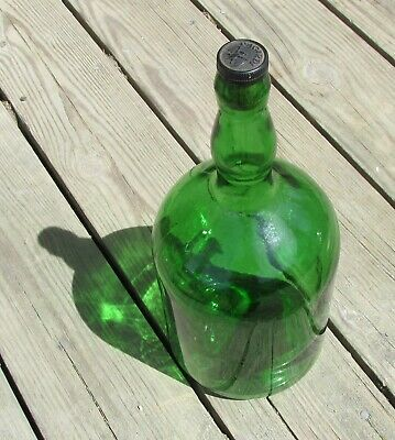 Vintage 1950's BACARDI Rum Bottle Grass Green Gallon with Stopper