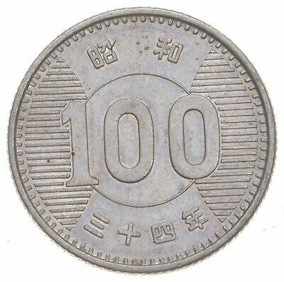SILVER - Roughly Size of Quarter - 1959 Japan 100 Yen - World Silver Coin *759