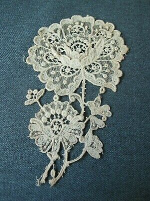 Antique flowers & leaves point de gaze lace applique  63f