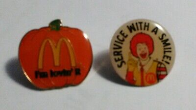 2 McDonald's Collector pins, I'm Loving It Pumpkin, Service With a Smile Ronald