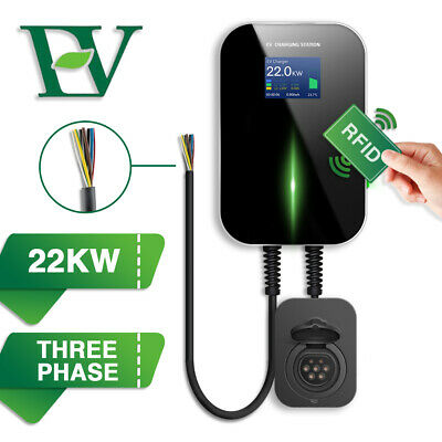 EV Charging Station With RFID 32A Electric Car Charger Wallbox 3 Phase Type2