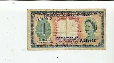 British Borneo 1 Dollar 1953 Vf Nr 7.25