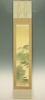 "掛軸1967 JAPANESE HANGING SCROLL : HIRAI BAISEN ""River Scenery""  @f381"