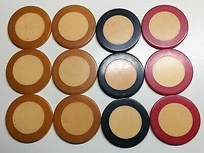 RARE!~2 Color BAKELITE Catalin POKER CHIPS~(12)~6 Butterscotch, 3 Red, 3 Black