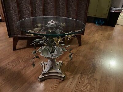 Vintage MCM Wrought Iron Italian Flower Table Tole Painted Metal Italy