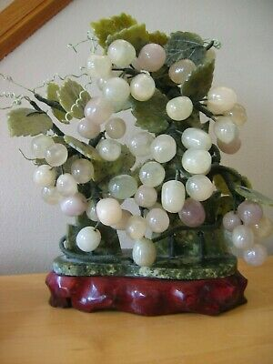 Vintage Tall CHINESE JADE STATUE Grapes & Leaves Wood Base