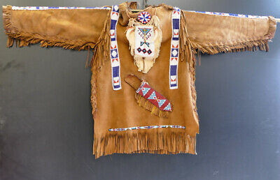 Vintage, beaded fringed coat, Native American, Fransenjacke, Perlen