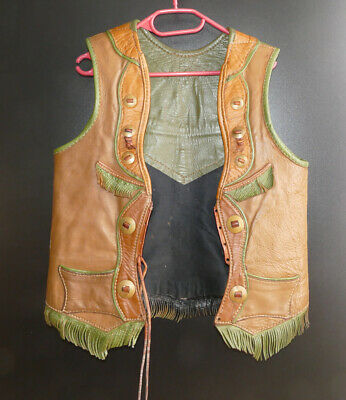 Vintage, Cowboy,Western, Cowboy Vest, Three colored leather, Messingknöpfe