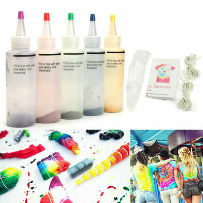 5 Bottles 23.3g 0.82oz Tie Dye Kit + 20pcs Rubber Band + 4 Pairs Vinyl Gloves UK