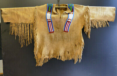 Vintage, Native American Leather Shirt, beaded Deerskin, Lederhemd