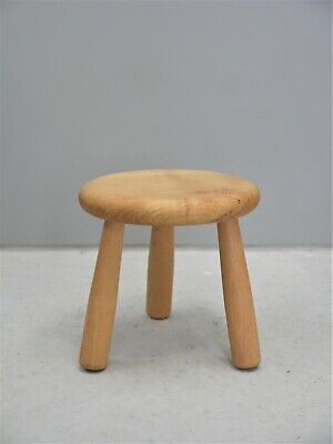 1970s VINTAGE ORIGINAL ELM WOOD MILKING STOOL MADE IN FRANCE MID CENTURY DESIGN