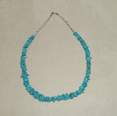 Native American Pueblo crafted, turquoise nugets, Necklace, 70 cm