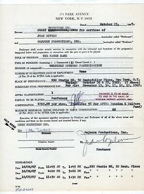 1967 Joan Rivers Signed Contract To Appear on TV Show The Match Game