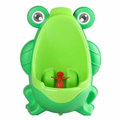 Green Cute Frog Potty Training Urinal For Boys Kids W/ Aiming Target Drain Tube