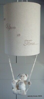 Delightful Once Upon A Time  Nursery Lightshade With Teddy On Swing
