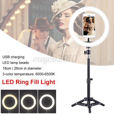 LED Ring Light Lamp Selfie Camera Phone Studio Tripod Stand Photo Video Dimmable