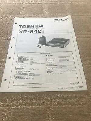 Toshiba XR-9421  service manual For Compact Disc Player