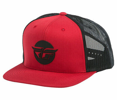 Fly Racing Logo Inversion Hat Red Mesh Snapback 351-0952