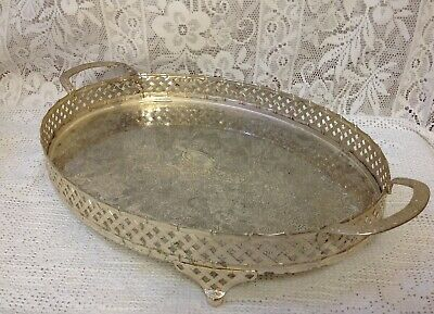 Vintage English Silver Plated Galleried Tray, Chased Design, On Four Feet.