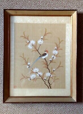 Antique Chinese Hand Painted On Silk, Exotic Bird Amongst Blossoms, Signed.