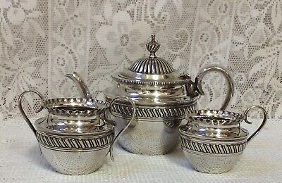 Antique Silver Plated Three Piece Tea Set By Mark Willis