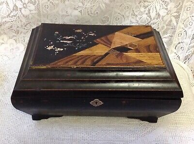 Japanese Antique Black Laquered Work, Sewing Box With Inlaid & Hand Painted Lid
