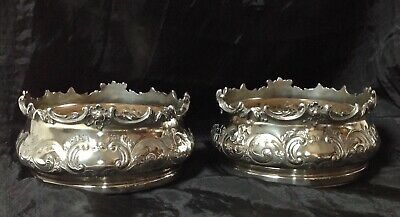 Elegant Pair of Old Sheffield Silver Plated Wine Bottle Coasters