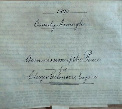 Victorian 1890 Commission Of The Peace Vellum - Armagh Ireland - Robert Peel