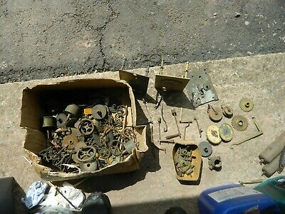 Large Box Of Longcase Clock Parts At Least 3 Bell Hammers Loads Of Cogs