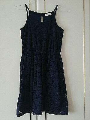 H&M Girls Navy Blue Lace Floral Dress Size 11 / 12 Years Length 34 Strappy Lined