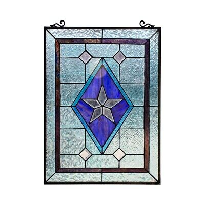 """Window Panel Victorian Star Stained Cut Glass Tiffany Style 18"""" x 25"""""""