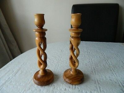 2 X vintage wooden candlesticks / candle holders