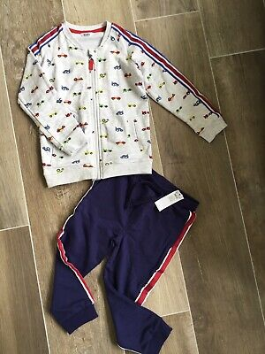 Bnwt Boys M&Co Car Tracksuit - Jacket / Top & Joggers Age 4-5 Years Navy Grey !!