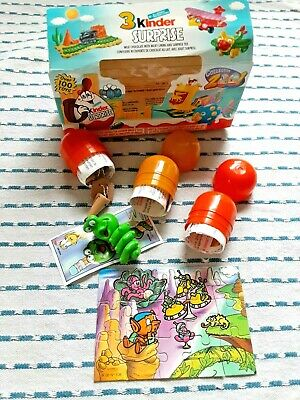 Lot Of 3 Kinder Suprise Toys In Plastic Bullets & Original Box: No Candy Eggs