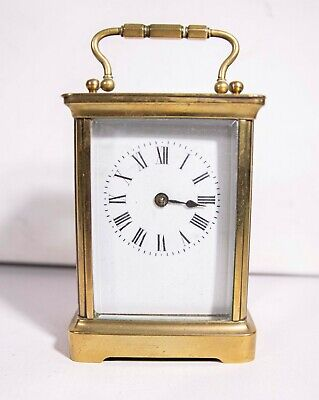 SMALL VINTAGE BRASS FRAMED CARRIAGE CLOCK enameled face WORKING