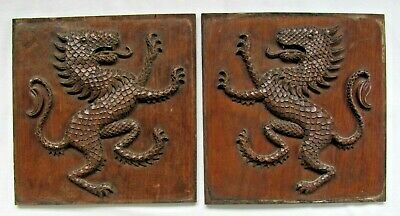 Pair of 18th/19th c. Mahogany Carvings of Scaly Dragons-NR