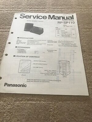 Panasonic  RP-SP110  service manual Speaker System