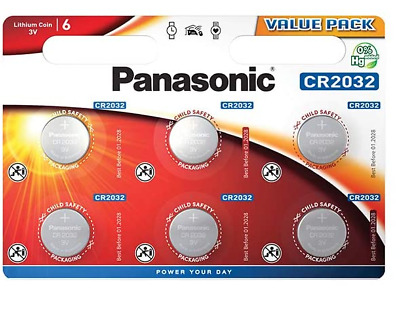 Panasonic CR2032 3V Lithium Coin Cell Battery Pack of 6 Exp2029