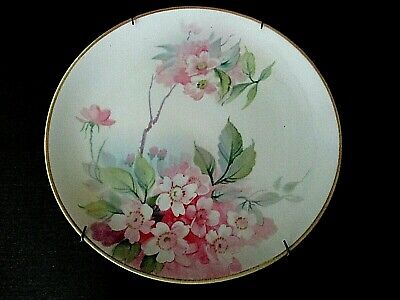 Antique Nippon Hand Painted Wild Roses White Porcelain Plate