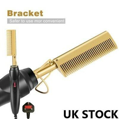 Electric Heat Brush Comb Beard Hair Straightener Flat Curler Curling Iron Hot UK
