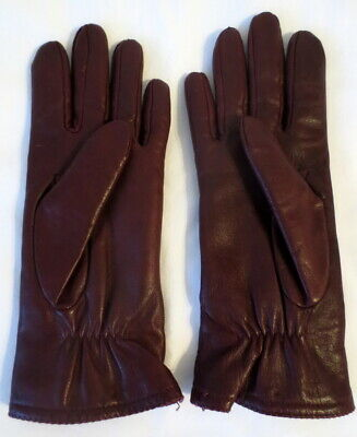 Warm Size 7, 9 1/4 Inch, Burgundy Acrylic Lined Leather Gloves