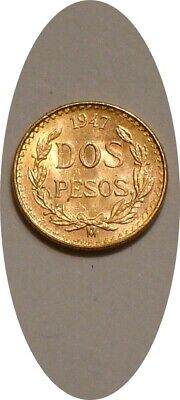 1947 GOLD 2 Pesos of Mexico scarce KEY DATE very Choice BU LOW MINTAGE Coin
