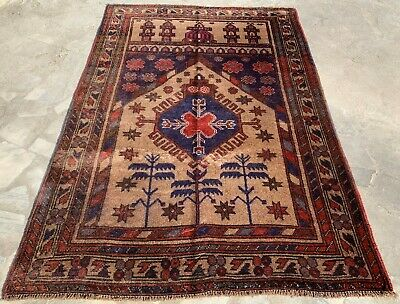 Authentic Hand Knotted Afghan Balouch Wool Area Rug 5 x 3 Ft (158 HM)