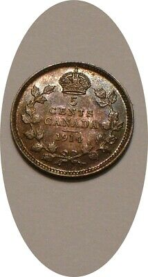 1914 Silver 5¢ Five Cents of Canada HIGHER GRADE Rainbow Colorful Tones