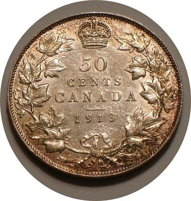 1913 Silver 50¢ Fifty Cents of Canada scarce HIGHER GRADE
