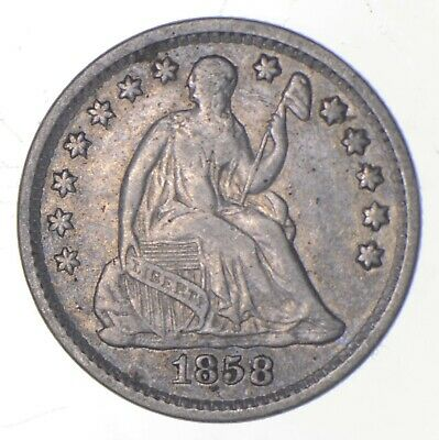 5c **1/2 Dime HALF** 1858 Seated Liberty Half Dime Early American Type Coin *234