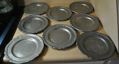 8 Lot ~ Wilton Armetale Country Ware Pewter Salad Plates