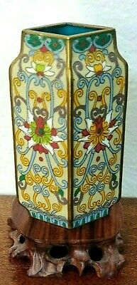 Antique Chinese Cloisonne Parallelogram Scrolling Lotus Bud Vase, 19th/20th C.